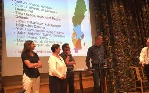 Salka Börjesson Eynon, Johan Håkansson Landshövding Ylva Thörn, Johan Håkansson och Marcus Weilund hade intressanta inspel i regionfrågan. Anders Ahlgren (skymd) var moderator.